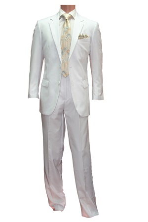 White 2pc 2button Basic Suit Package #2pcsuitpkg