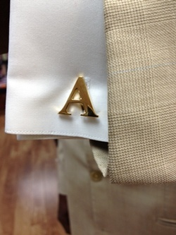 Alphabet Cuff Links Set Gold Finish #ALPHACLGold