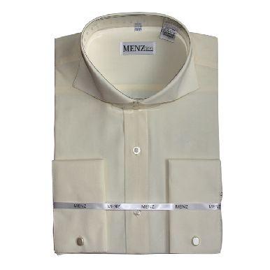 Cutaway Collar Shirts-Cream SC001-cutawaysolid