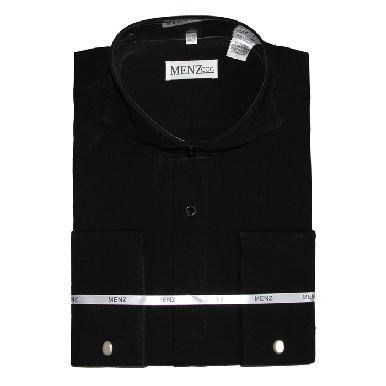 Cutaway Collar Shirts-Black SC004-cutawaysolid
