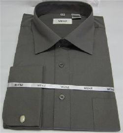 Menz French Cuff Dress Shirts-Grey grey