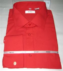 Menz French Cuff Dress Shirts-Red red