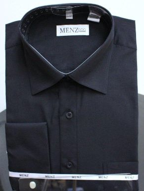 Menz French Cuff Dress Shirts-Black black
