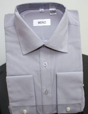 Menz French Cuff Dress Shirts-Lt Gray ltgray