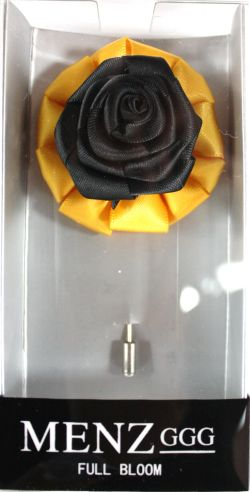 Full Bloom Lapel Flower-Gold-Blk LFB-Gold-Blk