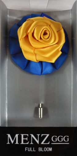 Full Bloom Lapel Flower-RBlue-Gold LFB-RBlue-Gold