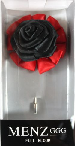 Full Bloom Lapel Flower-Red-Blk LFB-Red-Blk