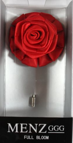 Full Bloom Lapel Flower-Red LFB-Red