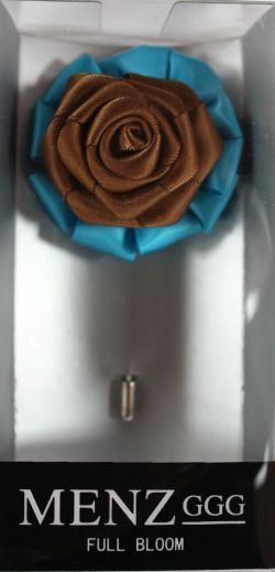 Full Bloom Lapel Flower-Turquoise-Brn LFB-Turquoise-Brn
