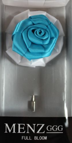 Full Bloom Lapel Flower-Wht-Turquoise LFB-Wht-Turquoise