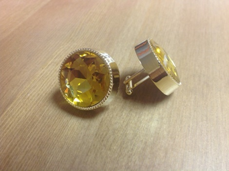 King Round Cuff Link-Yellow KRC12-Yellow