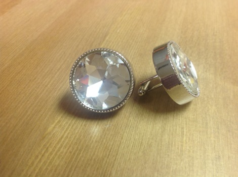 King Round Cuff Link-Clear KRC6-Clear