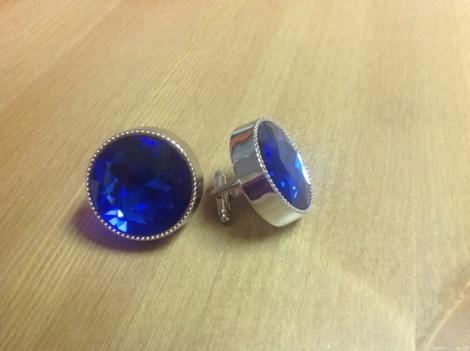 King Round Cuff Link-Blue KRC7-Blue