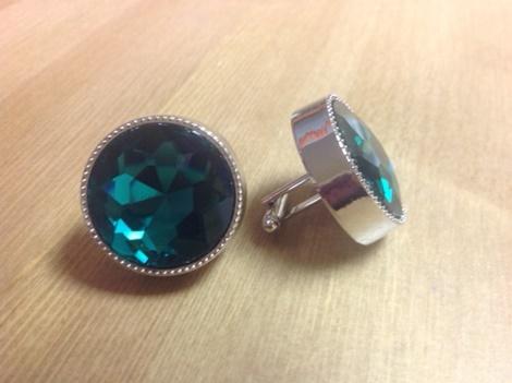 King Round Cuff Link-Emerald KRC8-Emerald