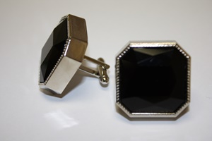 King Square Cuff Link 04-Black KSC04-Black