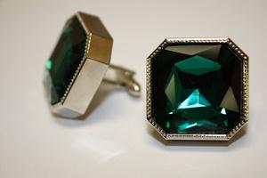 King Square Cuff Link 08-Emerald KSC08-Emerald
