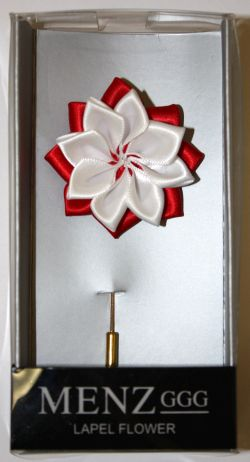 Lotus Lapel Flower 01 WHT/RED LLF-01-WHTRED