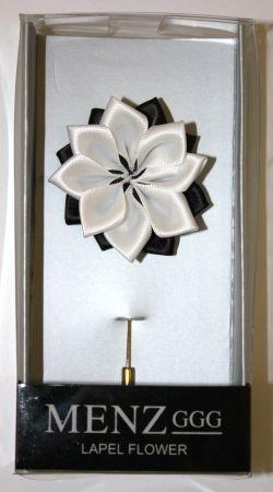 Lotus Lapel Flower 02 BLK/WHT LLF-02-BLKWHT