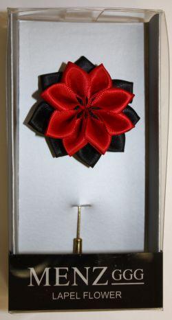 Lotus Lapel Flower 06  BLK/RED LLF-06-BLKRED