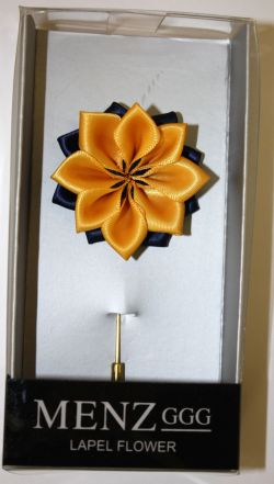 Lotus Lapel Flower 07  NAVY/GOLD LLF-07-NAVYGOLD