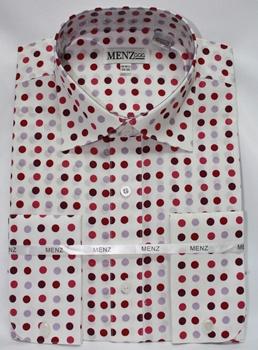 Polka Dot Shirt White/Wine Fuscia Lt Lavender GS-56-PolkaDotShirt