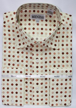 Polka Dot Shirt Cream/Brown Tan GS-57-PolkaDotShirt