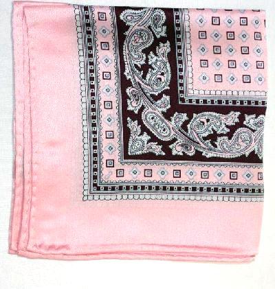 Printed Silk Hanky -pink-brown-grey PSH12 printedsilkhanky12