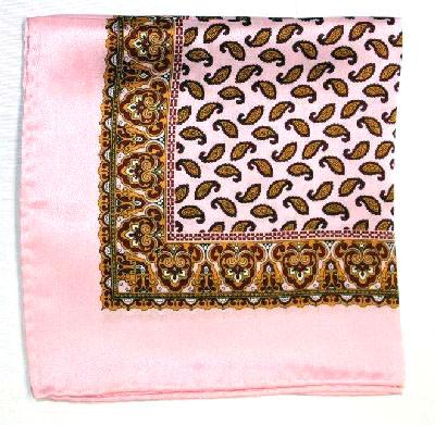 Printed Silk Hanky -pink-gold-burg PSH14 printedsilkhanky14