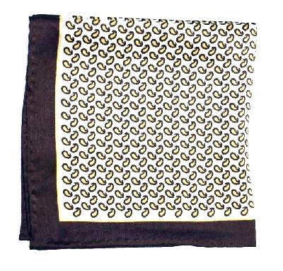 Printed Silk Hanky -cream-gold-brown PSH25 printedsilkhanky25