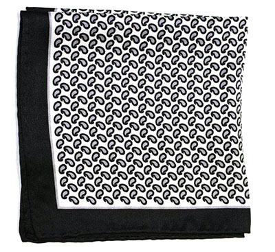 Printed Silk Hanky -black-grey PSH35 printedsilkhanky35