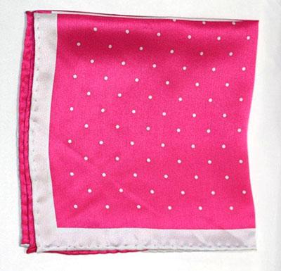 Printed Silk Hanky -hot pink-silv PSH38 printedsilkhanky38