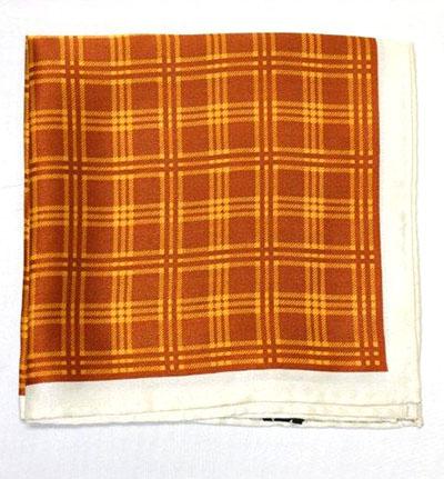 Printed Silk Hanky -gold-brown-cream PSH48 printedsilkhanky48