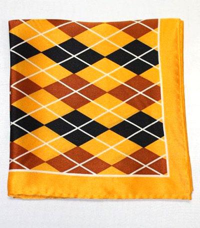 Printed Silk Hanky -gold-black-brown PSH50 printedsilkhanky50