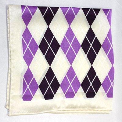 Printed Silk Hanky -cream-lavendr- Dk purp PSH53 printedsilkhanky53