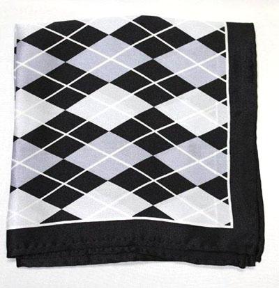 Printed Silk Hanky -black-grey-silv PHS56 printedsilkhanky56