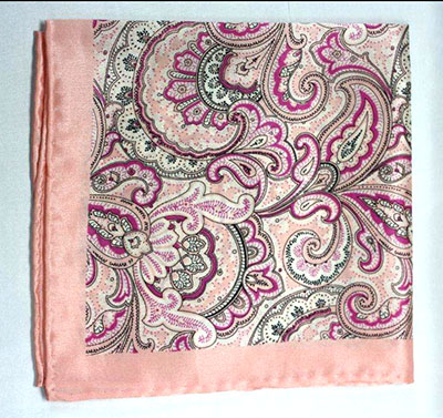 Printed Silk Hanky -pink-purple-black PHS65 printedsilkhanky65