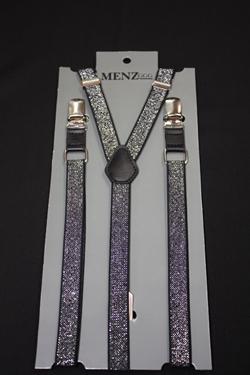 Skinny Suspenders Black & Silver SSBlackSilver